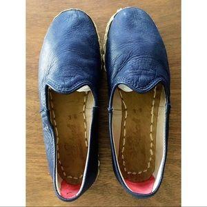 Sabah Handmade Leather Flats Navy